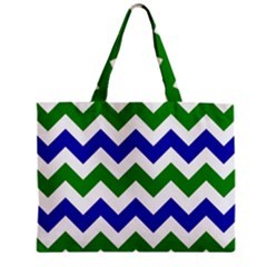 Blue And Green Chevron Zipper Mini Tote Bag by AnjaniArt