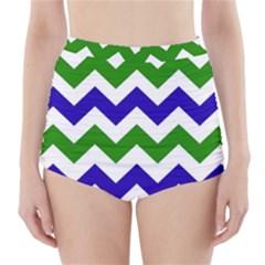 Blue And Green Chevron High-Waisted Bikini Bottoms by AnjaniArt