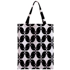 Black Flower Accents Zipper Classic Tote Bag by AnjaniArt