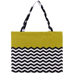 Colorblock Chevron Pattern Mustard Mini Tote Bag by AnjaniArt