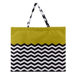 Colorblock Chevron Pattern Mustard Zipper Large Tote Bag by AnjaniArt