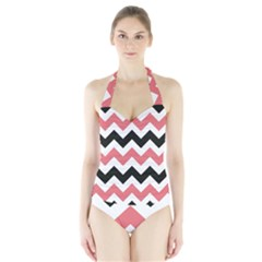 Chevron Crazy On Pinterest Blue Color Halter Swimsuit by AnjaniArt