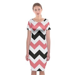 Chevron Crazy On Pinterest Blue Color Classic Short Sleeve Midi Dress by AnjaniArt