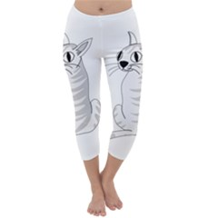White Cat  Capri Winter Leggings  by Valentinaart