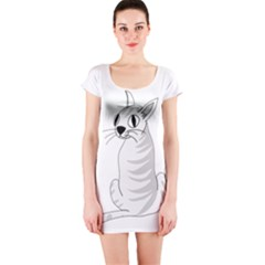 White Cat  Short Sleeve Bodycon Dress by Valentinaart