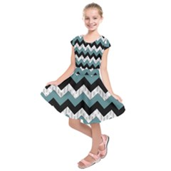 Green Black Pattern Chevron Kids  Short Sleeve Dress