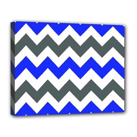 Grey And Blue Chevron Canvas 14  X 11