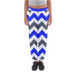 Grey And Blue Chevron Women s Jogger Sweatpants by AnjaniArt