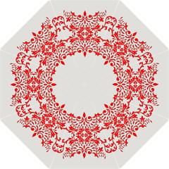 White With Red Ornaments Design Straight Umbrellas by GabriellaDavid