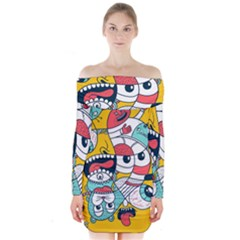 Monster Animals Long Sleeve Off Shoulder Dress by AnjaniArt