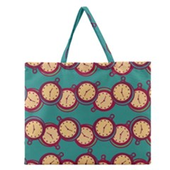 Timing Smart Time Zipper Large Tote Bag by AnjaniArt
