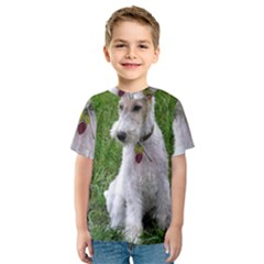 Wire Fox Terrier Sitting Kids  Sport Mesh Tee by TailWags