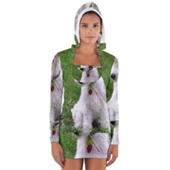Wire Fox Terrier Sitting Women s Long Sleeve Hooded T-shirt by TailWags