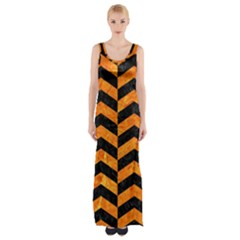 Chevron2 Black Marble & Orange Marble Maxi Thigh Split Dress by trendistuff