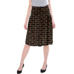 Brick1 Black Marble & Orange Marble Midi Beach Skirt by trendistuff