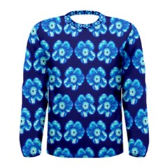Turquoise Blue Flower Pattern On Dark Blue Men s Long Sleeve Tee by Costasonlineshop