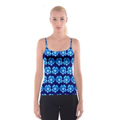 Turquoise Blue Flower Pattern On Dark Blue Spaghetti Strap Top by Costasonlineshop