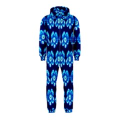 Turquoise Blue Flower Pattern On Dark Blue Hooded Jumpsuit (kids) by Costasonlineshop