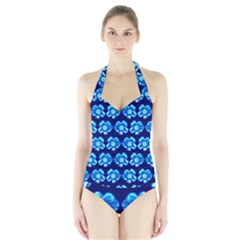 Turquoise Blue Flower Pattern On Dark Blue Halter Swimsuit by Costasonlineshop
