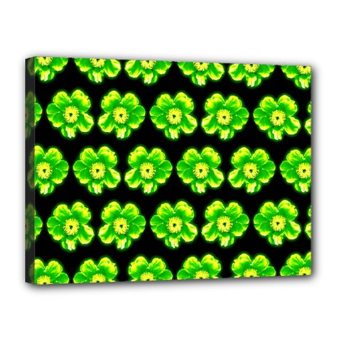 Green Yellow Flower Pattern On Dark Green Canvas 16  x 12  by Costasonlineshop