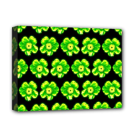 Green Yellow Flower Pattern On Dark Green Deluxe Canvas 16  X 12   by Costasonlineshop