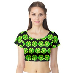 Green Yellow Flower Pattern On Dark Green Short Sleeve Crop Top (tight Fit) by Costasonlineshop
