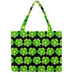 Green Yellow Flower Pattern On Dark Green Mini Tote Bag by Costasonlineshop
