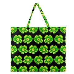 Green Yellow Flower Pattern On Dark Green Zipper Large Tote Bag by Costasonlineshop