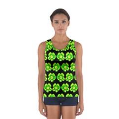 Green Yellow Flower Pattern On Dark Green Women s Sport Tank Top  by Costasonlineshop
