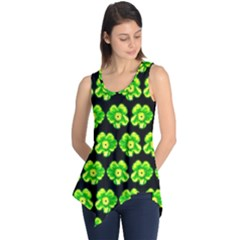 Green Yellow Flower Pattern On Dark Green Sleeveless Tunic by Costasonlineshop