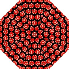 Red  Flower Pattern On Brown Hook Handle Umbrellas (small) by Costasonlineshop