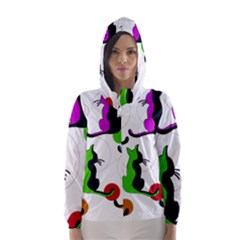 Colorful Abstract Cats Hooded Wind Breaker (women) by Valentinaart