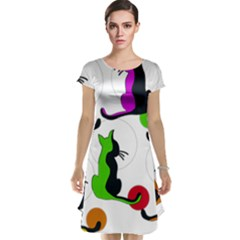 Colorful Abstract Cats Cap Sleeve Nightdress by Valentinaart