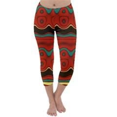 Orange Black and Blue Pattern Capri Winter Leggings