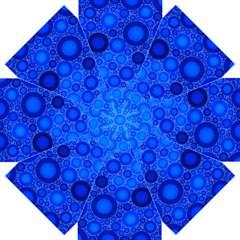 Dark Blue Abstract Circles Design Straight Umbrellas by GabriellaDavid