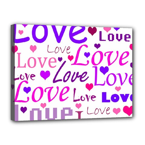 Love pattern Canvas 16  x 12  by Valentinaart