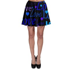 Blue Love Pattern Skater Skirt by Valentinaart