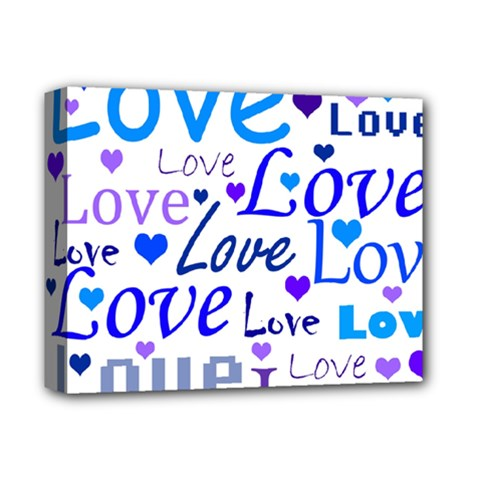 Blue and purple love pattern Deluxe Canvas 14  x 11  by Valentinaart