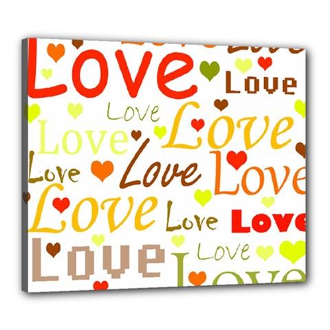 Valentine s day pattern Canvas 24  x 20  by Valentinaart