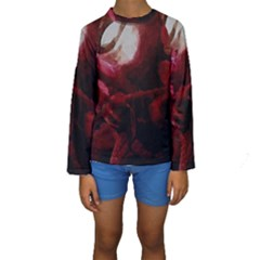 Dark Red Candlelight Candles Kids  Long Sleeve Swimwear by yoursparklingshop