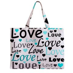 Love Pattern   Cyan Zipper Mini Tote Bag by Valentinaart