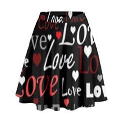 Red Love pattern High Waist Skirt by Valentinaart