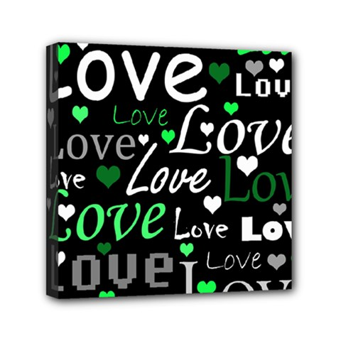 Green Valentine s day pattern Mini Canvas 6  x 6  by Valentinaart