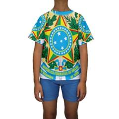 Coat Of Arms Of Brazil Kids  Short Sleeve Swimwear by abbeyz71