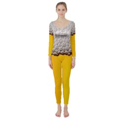 Beer Foam Yellow Long Sleeve Catsuit by AnjaniArt