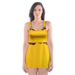 Beer Foam Yellow Skater Dress Swimsuit by AnjaniArt