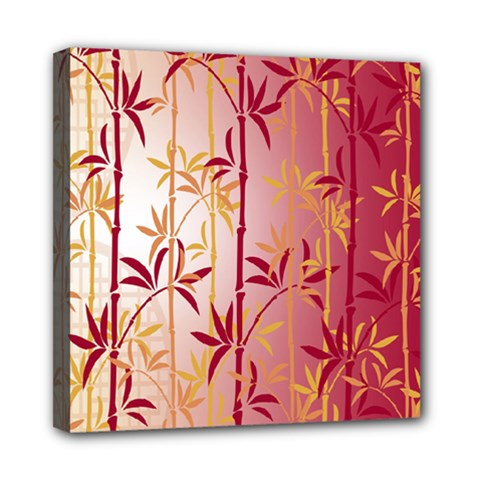 Bamboo Tree New Year Red Mini Canvas 8  X 8  by AnjaniArt