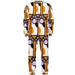 Cute Cat Hand Orange OnePiece Jumpsuit (Men)