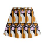 Cute Cat Hand Orange Mini Flare Skirt