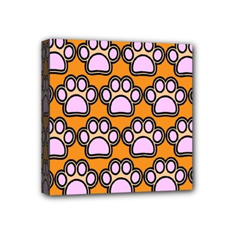 Dog Foot Orange Soles Feet Mini Canvas 4  X 4  by AnjaniArt